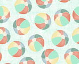 Beach Travel - Beach Balls Turquoise by Beth Albert from 3 Wishes Fabric