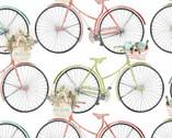 Beach Travel - Bikes White by Beth Albert from 3 Wishes Fabric