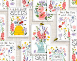 Feed The Bees - Seed Packets White from 3 Wishes Fabric