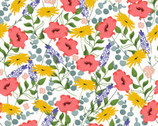 Feed The Bees - Floral Allover White from 3 Wishes Fabric