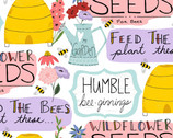 Feed The Bees - Signs Garden Words White from 3 Wishes Fabric