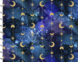 Magical Galaxy - String Stars Moons Metallic from 3 Wishes Fabric