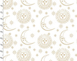 Magical Galaxy - Sun and Moon White Metallic from 3 Wishes Fabric