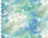 Magical Galaxy - Airglow Sky Green Metallic from 3 Wishes Fabric