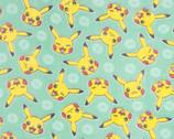 Pokemon Pika Micro FLEECE - Pikachu Mint from Robert Kaufman Fabrics