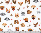 Whiskers and Tails - Dogs Portraits White from Robert Kaufman Fabrics
