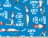 Celebration - The Cat In The Hat Blue by Dr Seuss from Robert Kaufman Fabrics