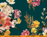 Wildflower - Coral Charm Teal by Kelly Ventura from Windham Fabrics