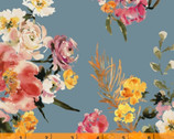 Wildflower - Coral Charm Dusk Blue by Kelly Ventura from Windham Fabrics