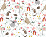 Aussie Friends - All Over Animals White by Deane Beesley from P&B Textiles Fabric