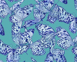 Feathered Beauty - Butterfly Minty Aqua by Kate Ward Thacker from Springs Creative Fabric