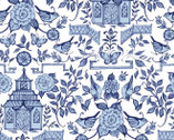 Chinoiserie - Pagoda White by Susan Winget from Springs Creative Fabric