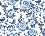 Chinoiserie - Bird Floral Blue on White by Susan Winget from Springs Creative Fabric