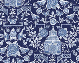 Chinoiserie - Pagoda Blue Navy by Susan Winget from Springs Creative Fabric