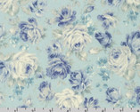 English Garden - Rose Floral Toss Water Blue by Sevenberry from Robert Kaufman Fabric