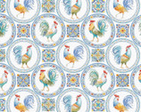Morning Bloom - Medallion Rooster Blue Multi from David Textiles Fabrics