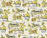 Tuscan Sun - Landscape Lemons Wine from David Textiles Fabrics