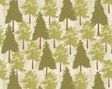 Live Love Lodge - Lodge Trees Cream Green from David Textiles Fabrics
