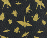 Yuka - Crane Charcoal from Kokka Fabric