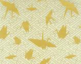 Yuka - Crane Yellow Mustard from Kokka Fabric