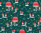 Gnome Noel - Gnome Village Teal Green by Liz Mytinger from Paintbrush Studio Fabrics