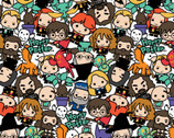 Kawaii Harry Potter - Characters Packed White from Camelot Fabrics