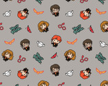 Kawaii Harry Potter - Characters Tossed Earthy Grey from Camelot Fabrics