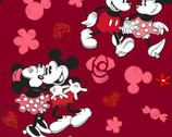 Mickey and Minnie Mouse - Love Red Metallic from Springs Creative Fabric