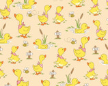 Comfy FLANNEL Prints - Ducks Yellow Peach from A.E. Nathan Company