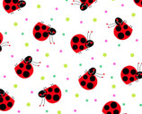 Comfy FLANNEL Prints - Ladybug White from A.E. Nathan Company