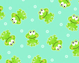 Comfy FLANNEL Prints - Frogs Green Aqua from A.E. Nathan Company
