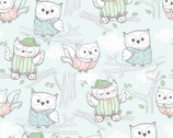Comfy FLANNEL Prints - Owls In Pajamas Light Blue from A.E. Nathan Company