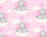 Comfy FLANNEL Prints - Elephants Cloud Stars Pink from A.E. Nathan Company