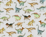 Comfy FLANNEL Prints - Dinosaurs Light Grey from A.E. Nathan Company