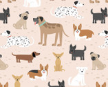 Comfy FLANNEL Prints - Dogs Light Pink from A.E. Nathan Company