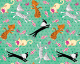 Comfy FLANNEL Prints - Cats Fish Green Mint from A.E. Nathan Company