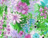 Garden In Summer - Lavender Pink Blooms Green from EE Schenck Fabric