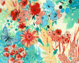 Garden In Summer - Floral Butterfly Teal Coral Red from EE Schenck Fabric