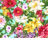 Princess Passion - Colorful Flowers on Aqua from EE Schenck Fabric