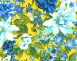 Princess Passion - Blue Flowers on Yellow from EE Schenck Fabric