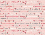 Cherished Moments - Kindly Said Words Pink from Poppie Cotton Fabric