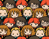 Kawaii Harry Potter - Characters Packed Grey from Camelot Fabrics