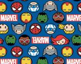 Kawaii Marvel II - Hero Faces Logo Blue from Camelot Fabrics