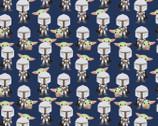 Star Wars - Mando Hello Friend Baby Yoda Mandalorian  Navy from Camelot Fabrics