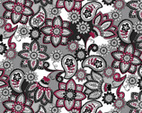 Bali Beauty - Floral Grey Red from David Textiles Fabrics