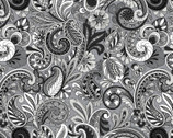 Bali Beauty - Floral Paisley Black White Grey from David Textiles Fabrics