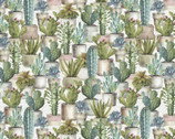 Cactus Verde - Packed Potted Succulents Cactus by Lisa Audit from David Textiles Fabrics