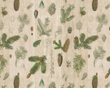 Woodland Chart - Forest Pine Leaves from David Textiles Fabrics