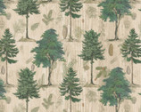 Woodland Chart - Trees Pinecones from David Textiles Fabrics