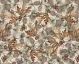 Woodland Chart - Leaf Acorns Beige from David Textiles Fabrics